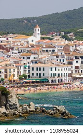 CALELLA, SPAIN - JUNE 8: Panoramic view of Calella de Palafrugell, a touristic village in Catalonia, Spain, on June 8, 2014.