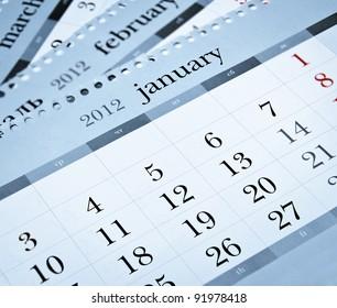 Calendar 2012. Blue toned.