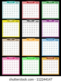 Calendar 2013 in assorted colors with large date boxes. Each month a different color. Vector version also available.