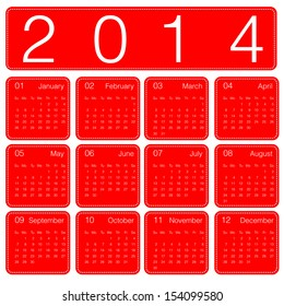 calendar 2014 year simple red theme
