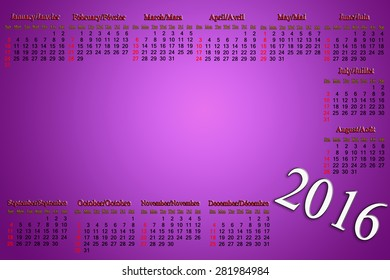 calendar for 2016 in English and French on lilac background with place for picture or advertising text