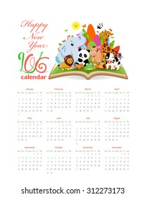 Calendar 2016 with  gardens and animals on the book