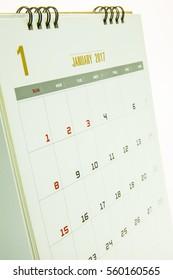Calendar 2017 isolated on white