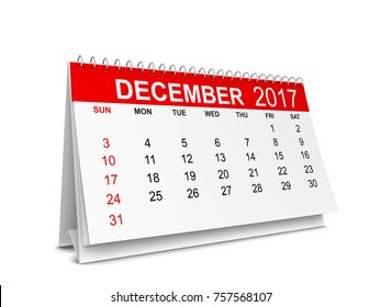 Calendar for 2017 year. 3d illustration isolated on white background