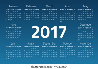 Calendar 2017 year on a blue background. Week starts sunday. Design template