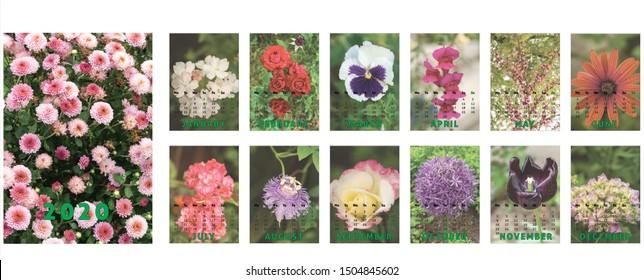 Calendar 2020, Calendar template design with photos from Romania. Romanian language