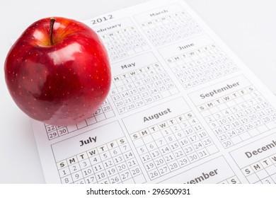 Calendar, Apple, Food.