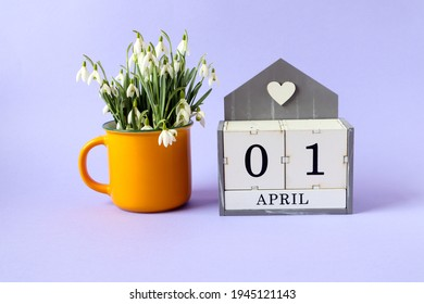 Calendar for April 1: cubes with the numbers 0 and 1, the name of the month of April in English, a bouquet of snowdrops in a yellow tea cup on a blue background