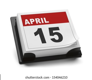 Calendar with April 15th Isolated on White Background.
