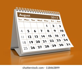 calendar August 2013 in color background