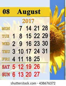 calendar for August 2017 with fragment of yellow fly on the sunflower. Reminder for business. Reminder for office life