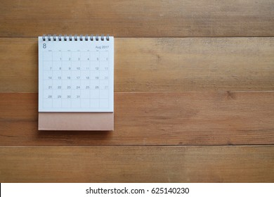 calendar august 2017 on wooden table