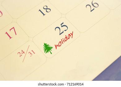 calendar of christmas day of 25 december 2017