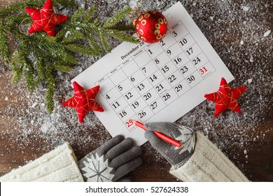 calendar or christmas day with note text of holiday concept for christmas and new year