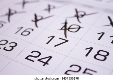calendar with cross out dates. close up