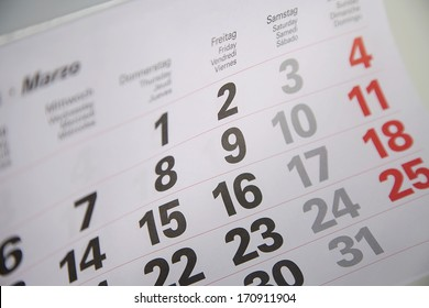 Calendar with days and month