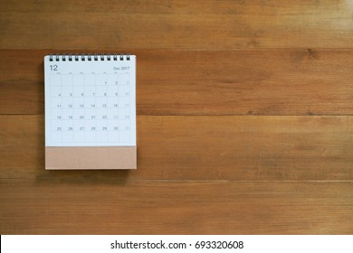 calendar december 2017 on wooden background with copy space