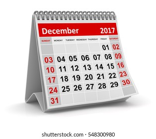 Calendar - December 2017 , This is a 3d rendered computer generated image. Isolated on white.