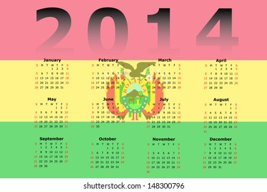 Calendar Design for 2014 with the flag of Bolivia in the background