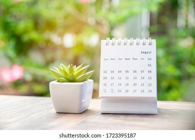 Kalender für Planer und Organisator, um den täglichen Termin zu planen und zu erinnern, Tagungskalender, Zeitplan, Zeitplan und Management der Arbeit.Kaktus und Kalender auf Büroschreibtisch.Arbeiten online von zu Hause aus.