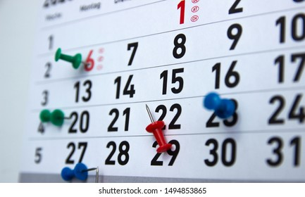Calendar, diary with marks of significant and special dates.