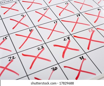 A calendar with every date x-d out or marked out, time concept, time is running out etc.