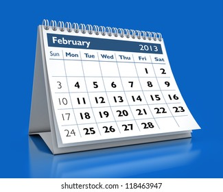 calendar February 2013 in color background