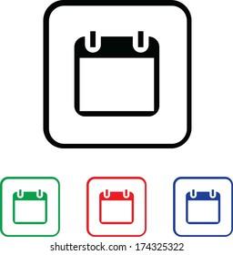 Calendar Icon Illustration with Four Color Variations