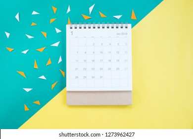 Calendar January 2019. Colorful paper background
