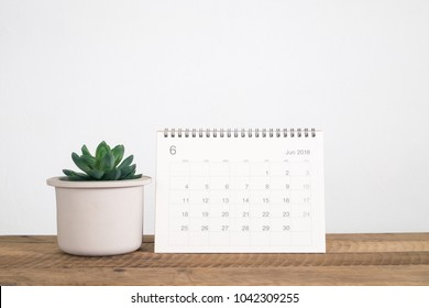 Calendar June 2018 with cactus in pot on table