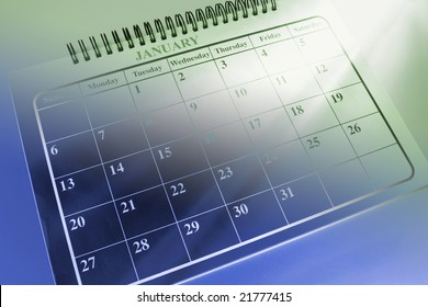 Calendar with Light Streaks in Green and Blue Tone