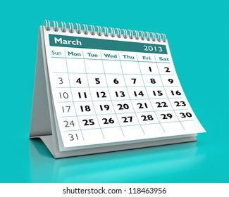 calendar March 2013 in color background