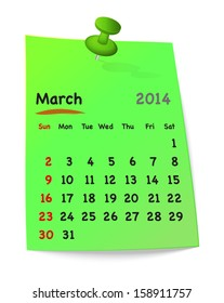 Calendar for march 2014 on green sticky note attached with green pin. Sundays first