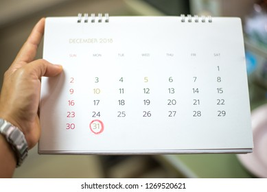 Calendar marking on last day of 2018.