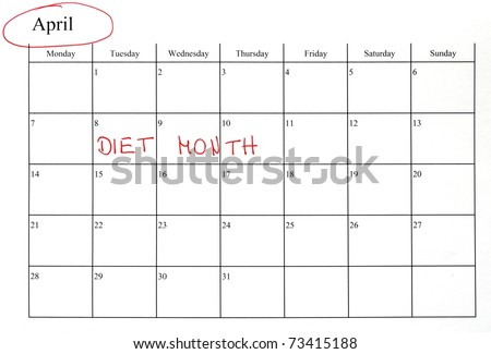 calendar marking start diet red letter stock photo edit now