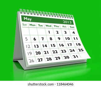 calendar May 2013 in color background