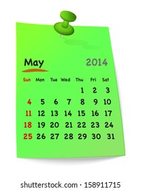 Calendar for may 2014 on green sticky note attached with green pin. Sundays first