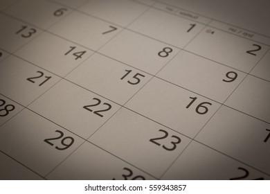 Calendar month sepia tones.