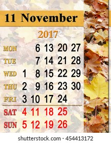 calendar for November 2017 with the ribbon of yellow leaves in the park