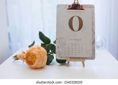 Calendar of October On a Small Art Stand And a Decorative Pastel Peach Color Rose Are In a White Interior of Room.