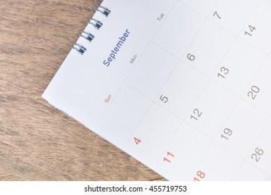 calendar on wood texture