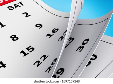 Calendar page 2021 on blue background, business planning appointment meeting concept