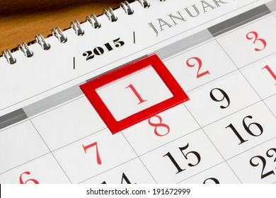 Calendar page with marked date of 1st of January 2015