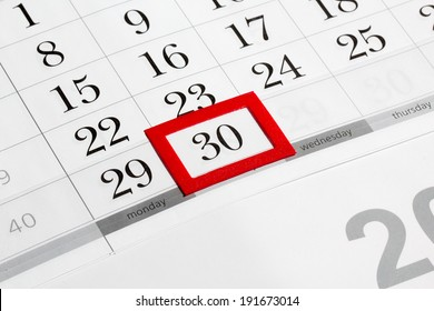 Calendar page with marked date of 30th