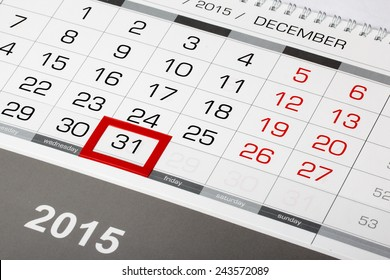 Calendar page with marked date of 31 of December 2015