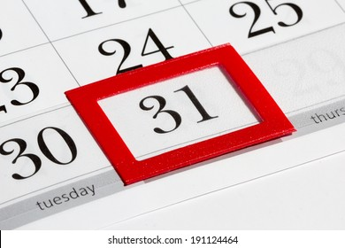 Calendar page with marked date of 31st