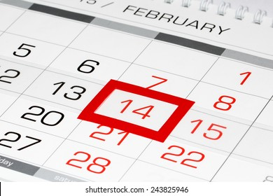 Calendar page with marked date of Saint Valentine's Day