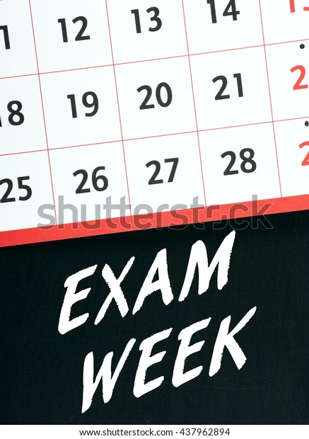 Calendar Page On Blackboard Words Exam Stock Photo (Edit Now