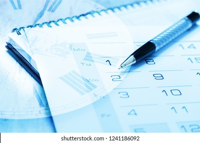 Calendar page witn pen