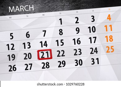 Calendar page year 2018 month March date 21